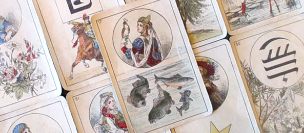 Lenormandkarte – Die Fische 34: Deutung, Bedeutung, Kombinationen