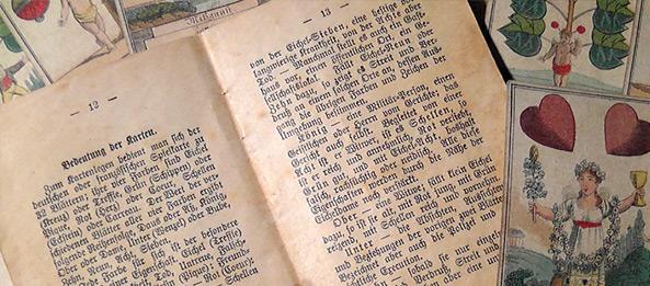 Alte Literatur über Kartenlegen und Wahrsagen mit Schafkopfkarten
