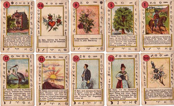 Lenormandkarten Herkunft unbekannt